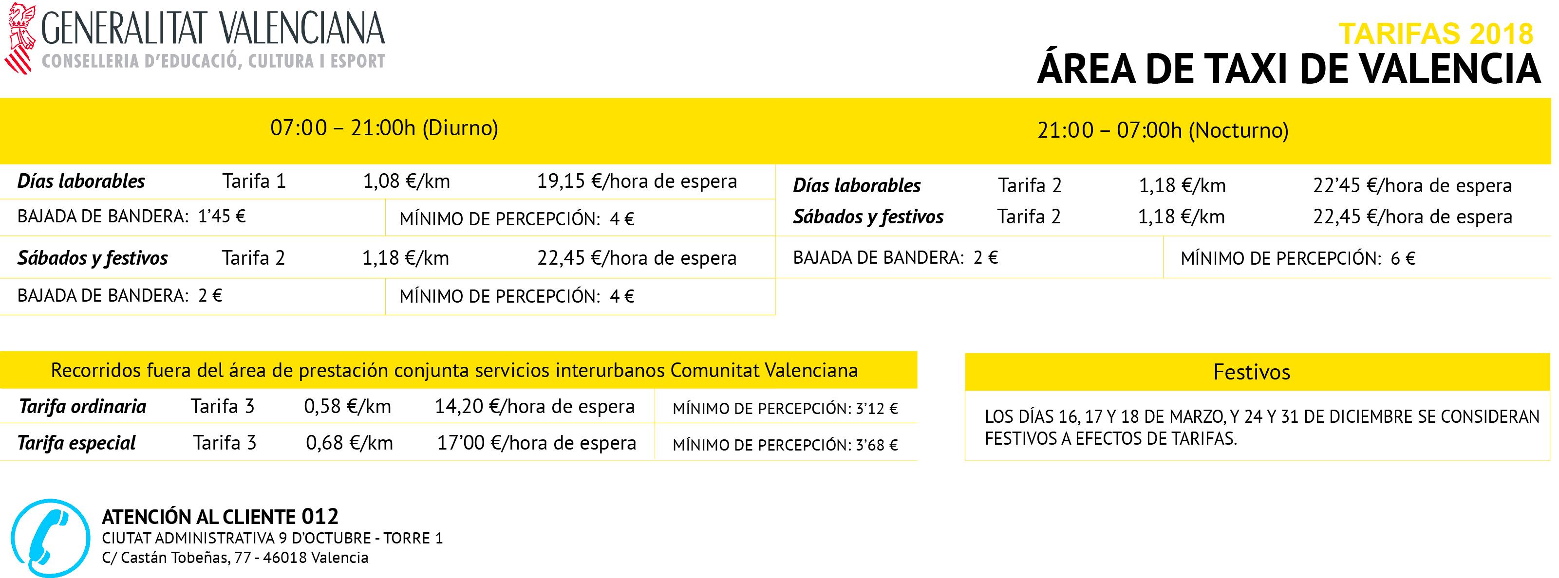 Tele taxi - Tarifes 2016 - Valencià